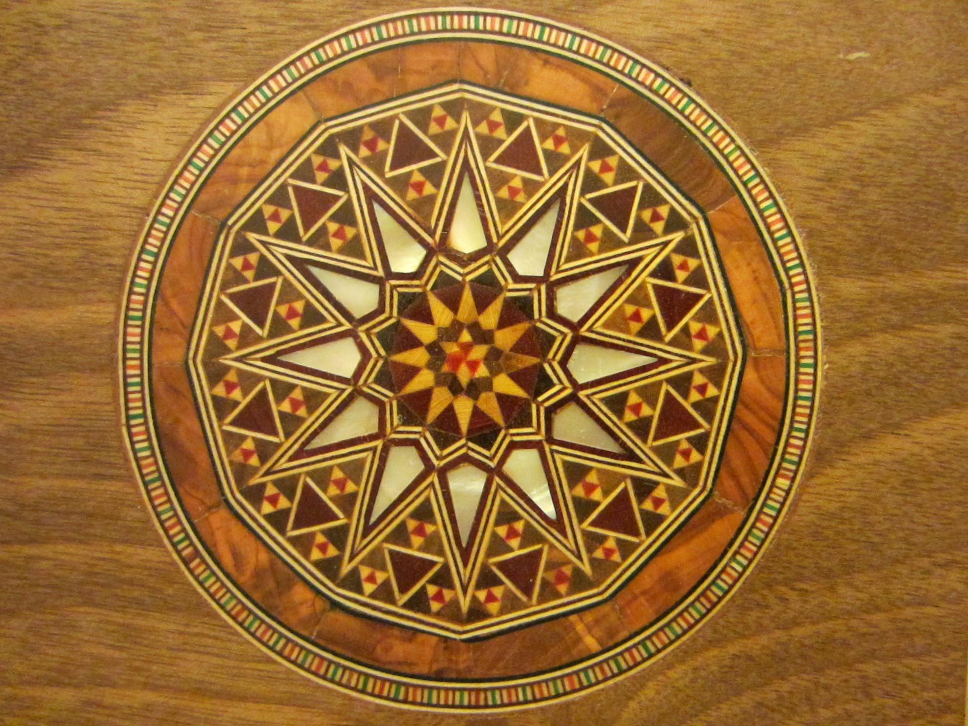 Art Deco Wood Inlaid Jewelry Box Ornate Geometric Design