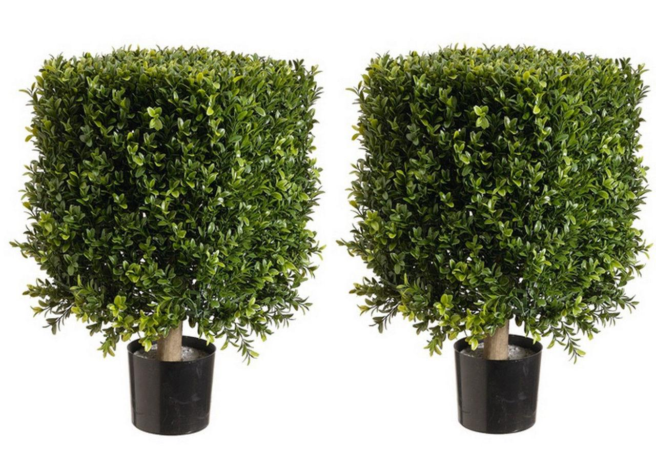 Artificial Boxwood Bushes Square Topiary Faux
