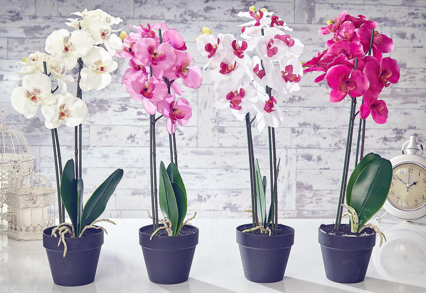 Artificial Orchid Flowers Plants Pot Home Decor Garden