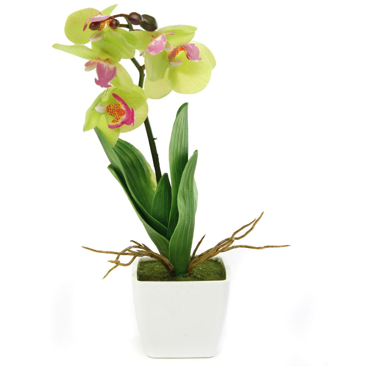Artificial Potted Plant Orchid Pot Green Houseplant