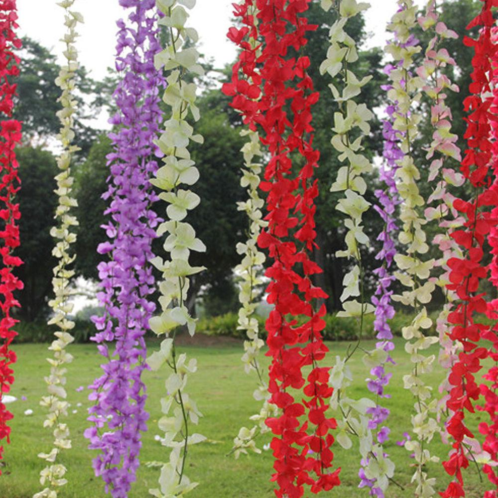 Artificial Silk Wisteria Leaf Hanging Flower Plant Vine