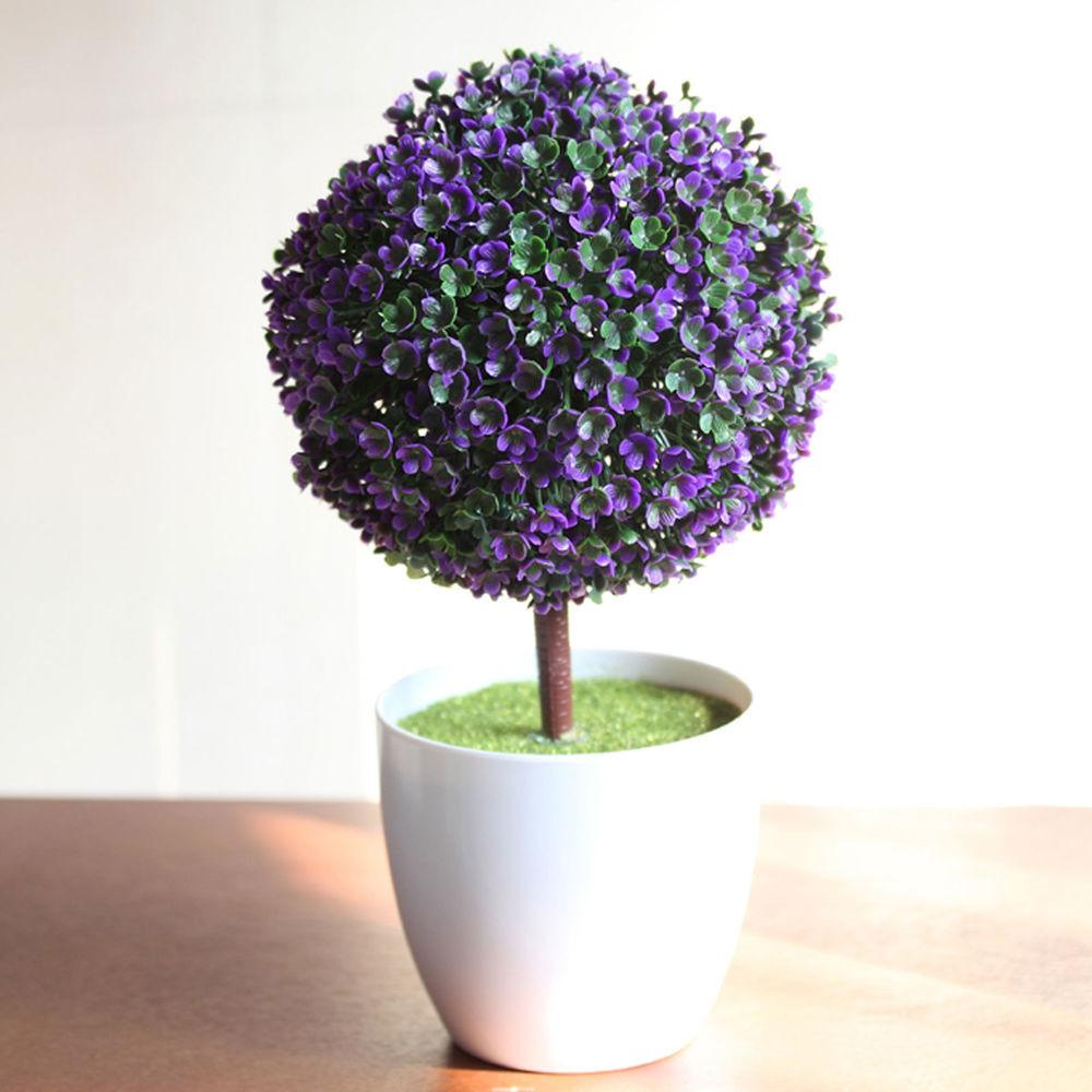 Artificial Topiary Tree Ball Plants Pot Plastic Home