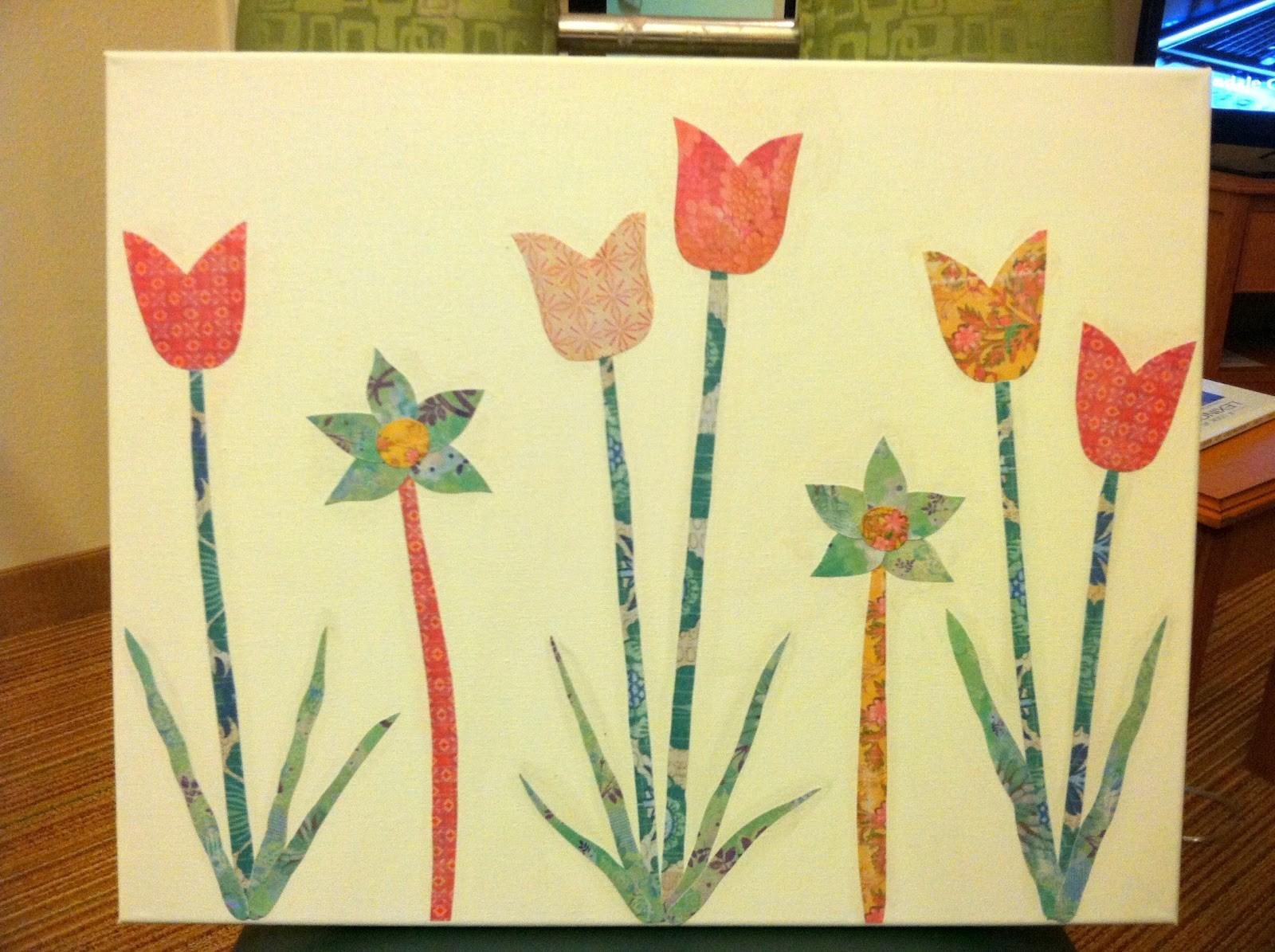 Arts Crafts Diy Paper Cut Outs Canvas Tulips