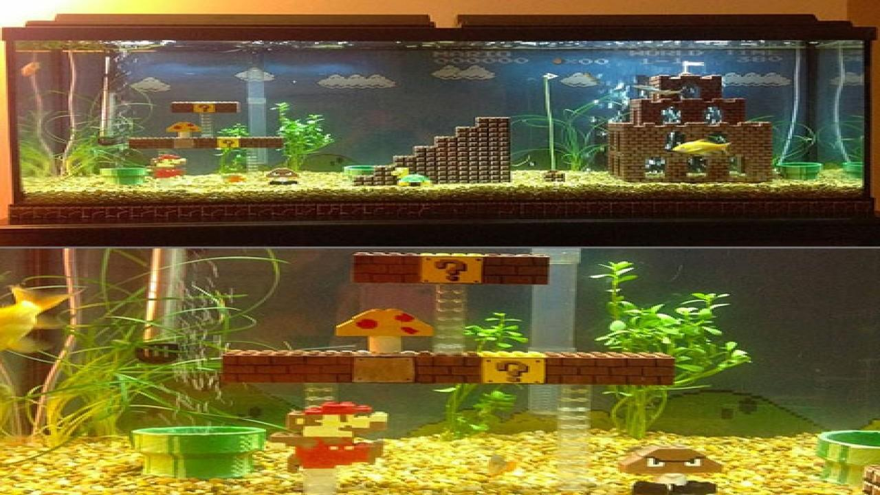 Asian Office Decor Cool Fish Tank Decorations Super Mario