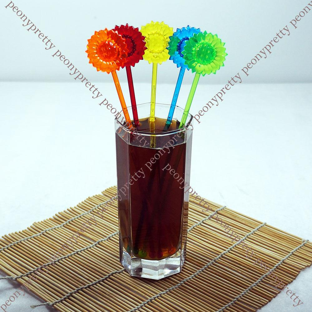 Assorted Colors Daisy Drink Stirrer Cocktail Swizzle Stir