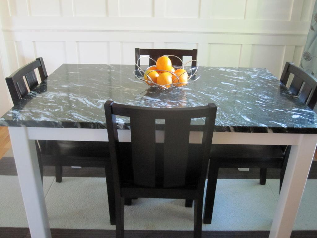 Astounsding White Wooden Dining Table Black Marble