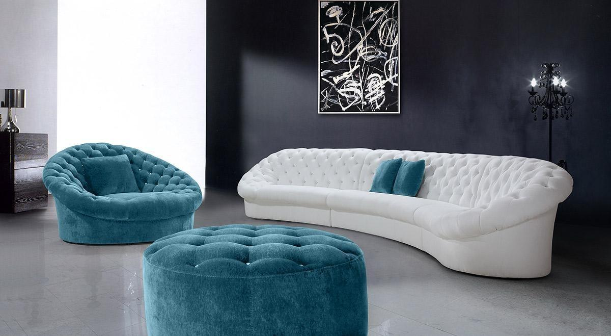 Attractive White Blue Leather Sofa Luxury Living