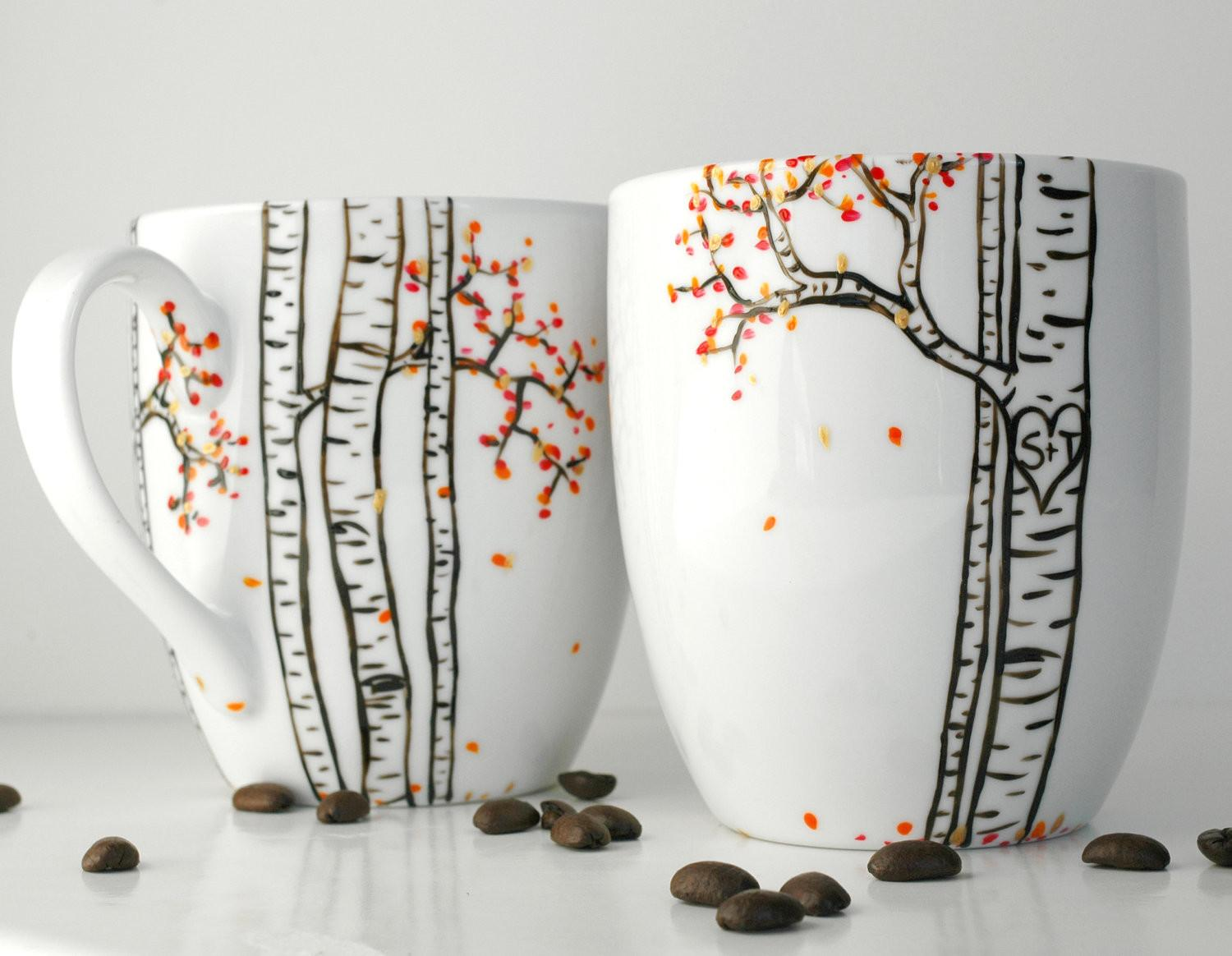 Autumn Aspen Forest Large Personalized Mugs Hand Painted