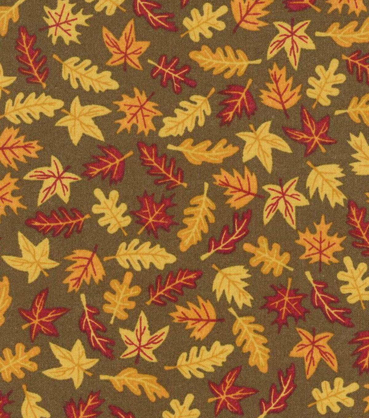 Autumn Inspirations Harvest Fabric Mini Leaves Brown Ann