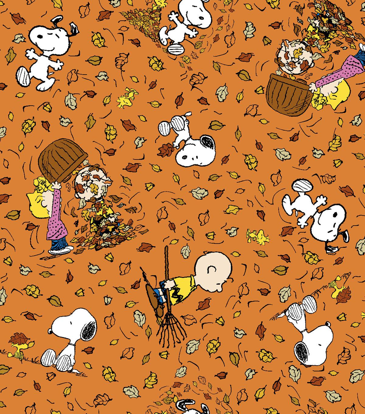 Autumn Inspirations Peanuts Falling Leaves Fabric Ann