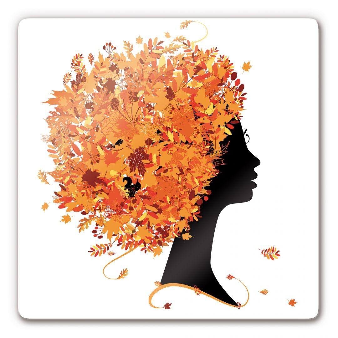 Autumn Leaves Hair Glass Art Wall