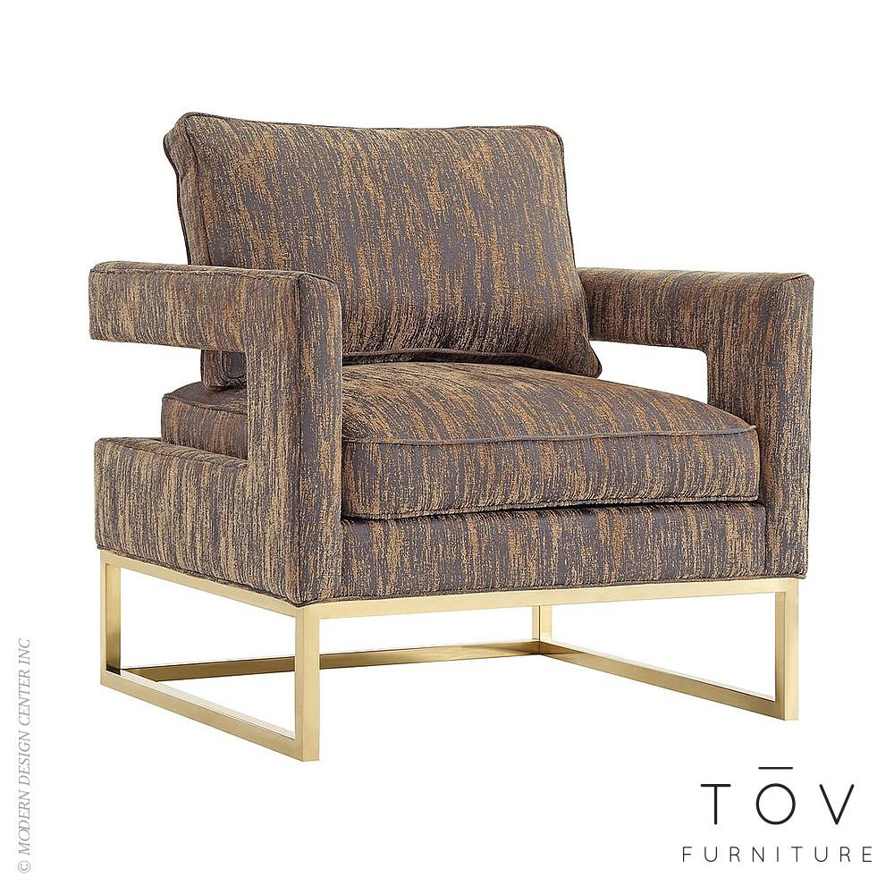 Avery Gold Textured Velvet Chair Tov Furniture