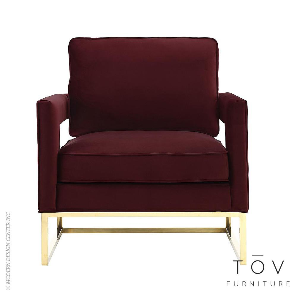 Avery Maroon Velvet Chair Tov Furniture Metropolitandecor