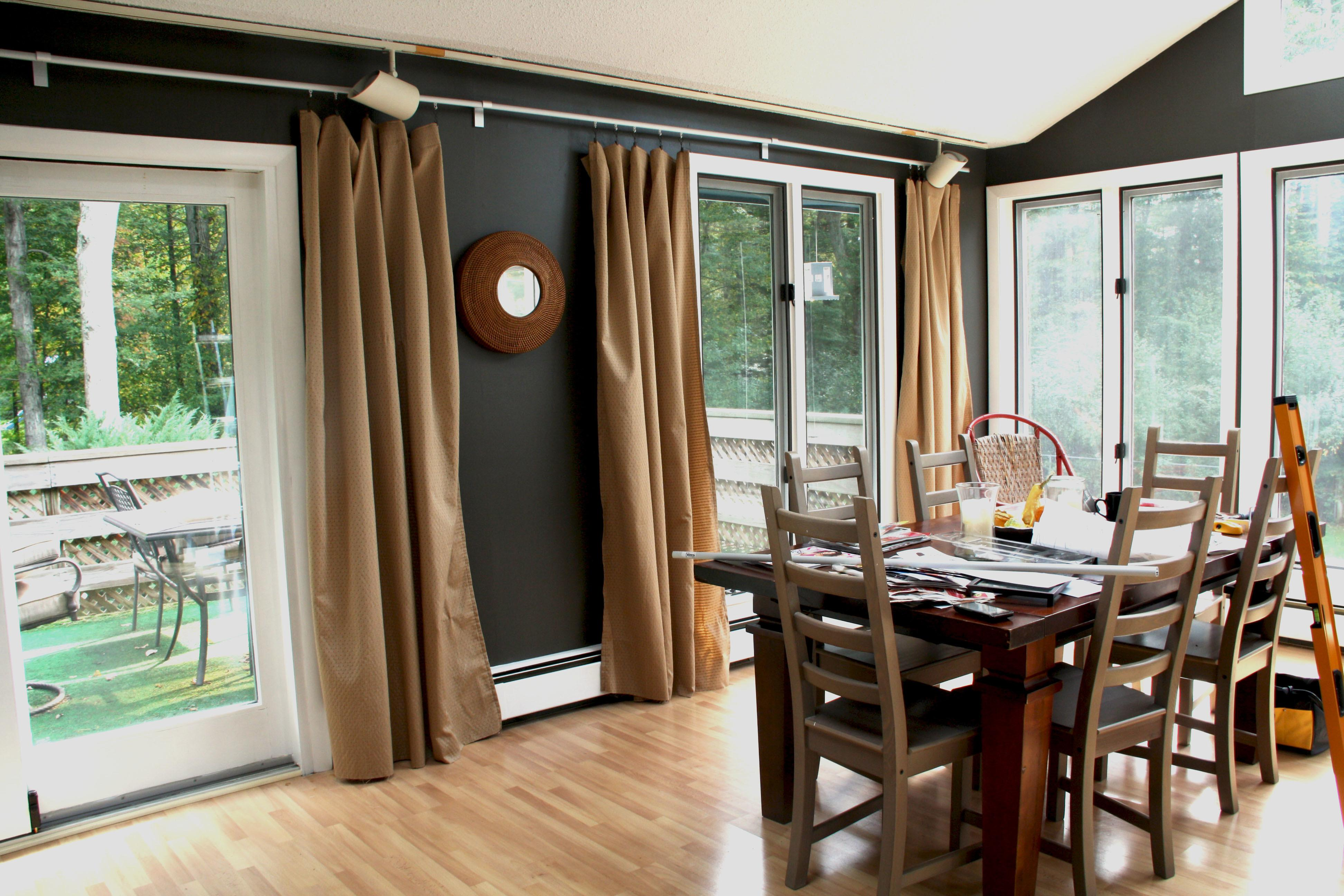 Awesome Brown Fabric Sliding Dining Room Curtains