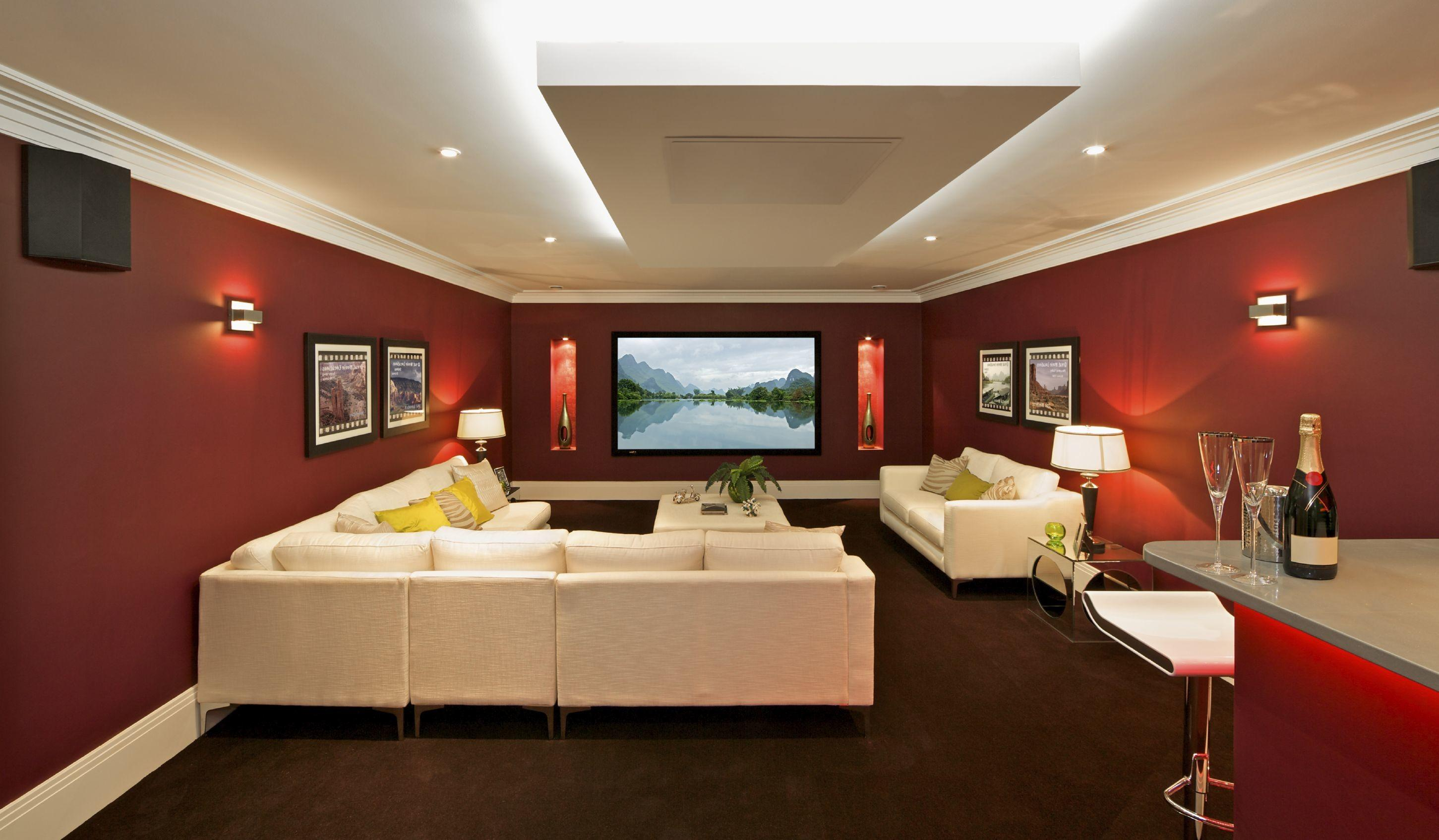 Awesome Home Theater Decor Red Walls Bar