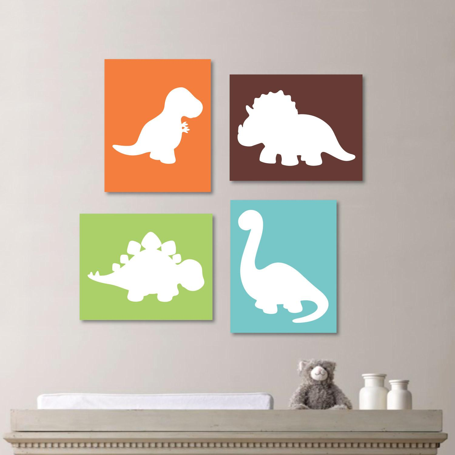 Baby Boy Nursery Art Decor Dinosaur