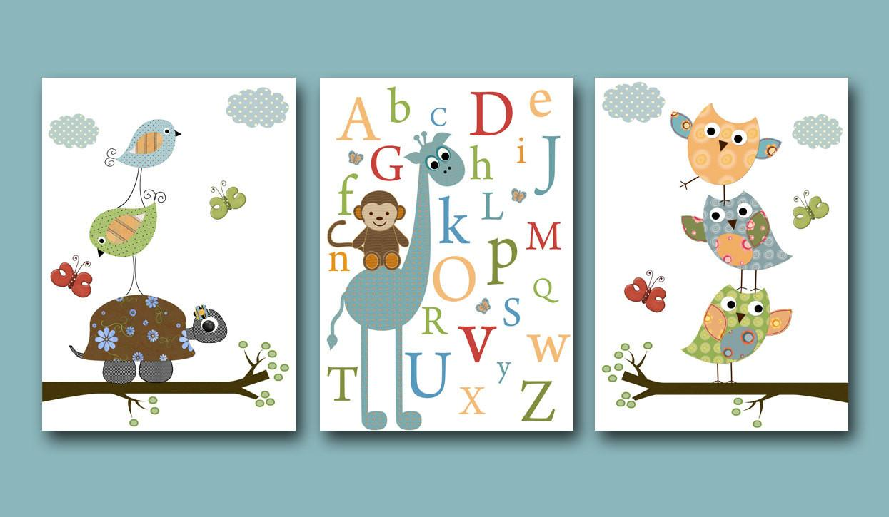 Baby Boy Nursery Art Print Room Owls Artbynataera