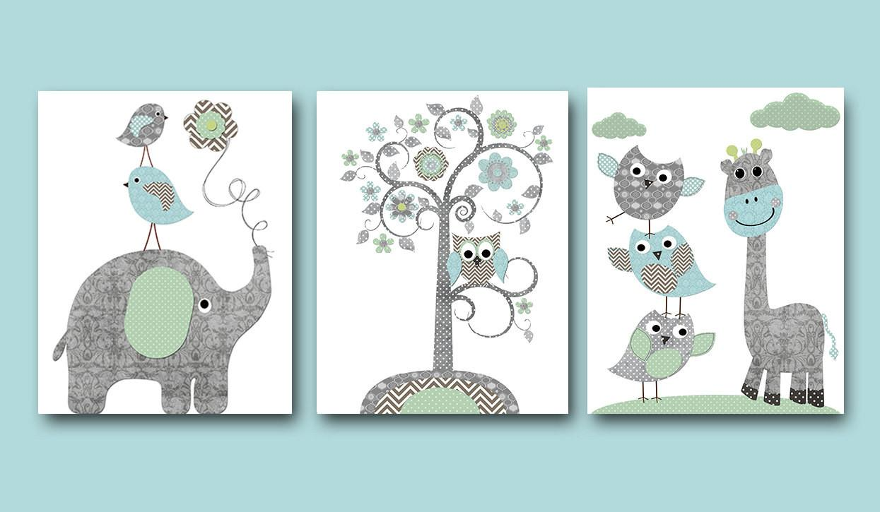 Baby Boy Nursery Art Print Wall Kids Decor