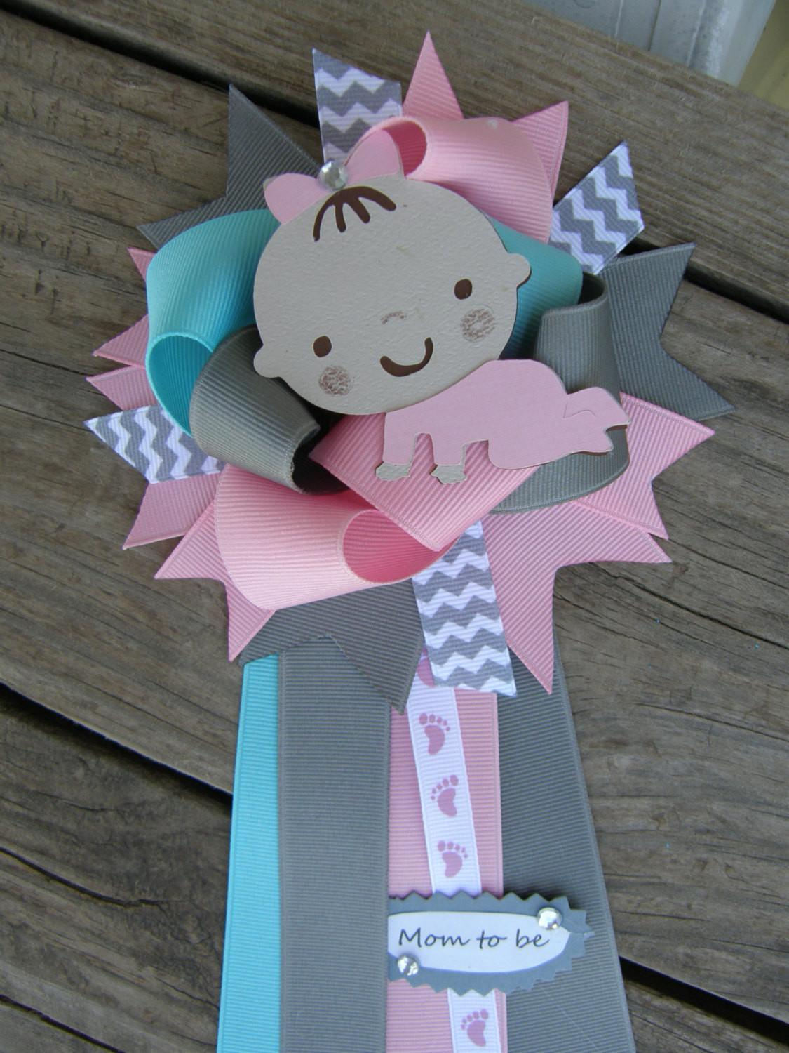 Baby Girl Shower Corsage Pin Bonbow