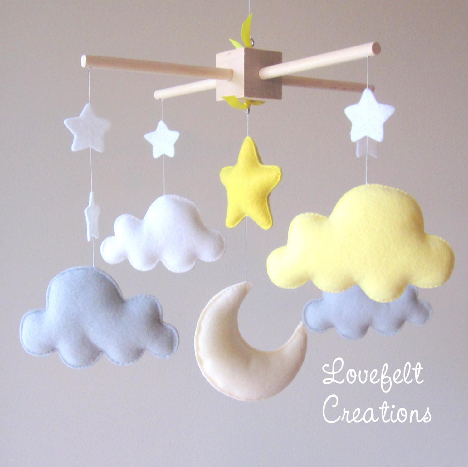 Baby Mobile Cloud Moon Clouds Yellow