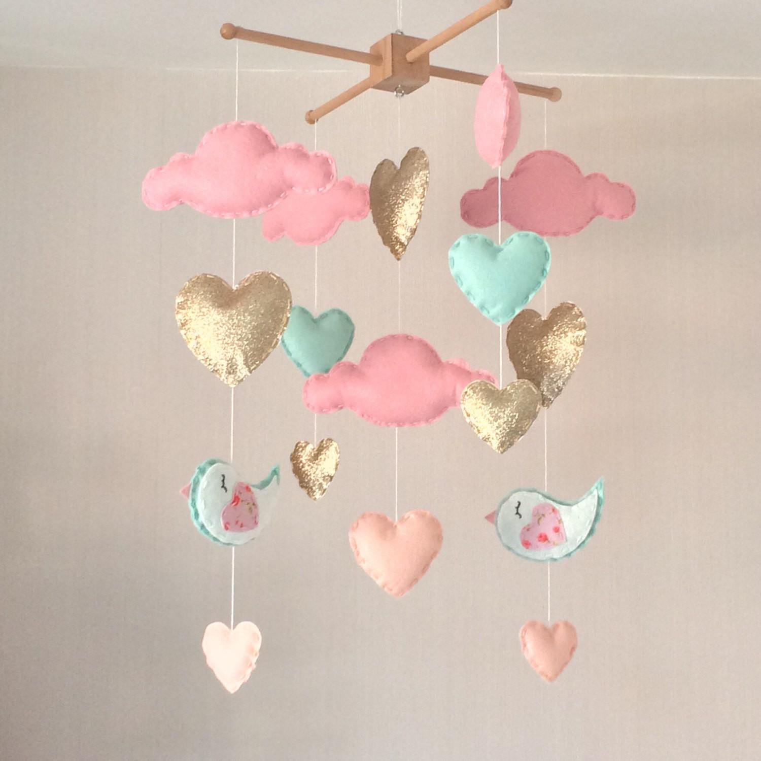 Baby Mobile Girl Cot Heart
