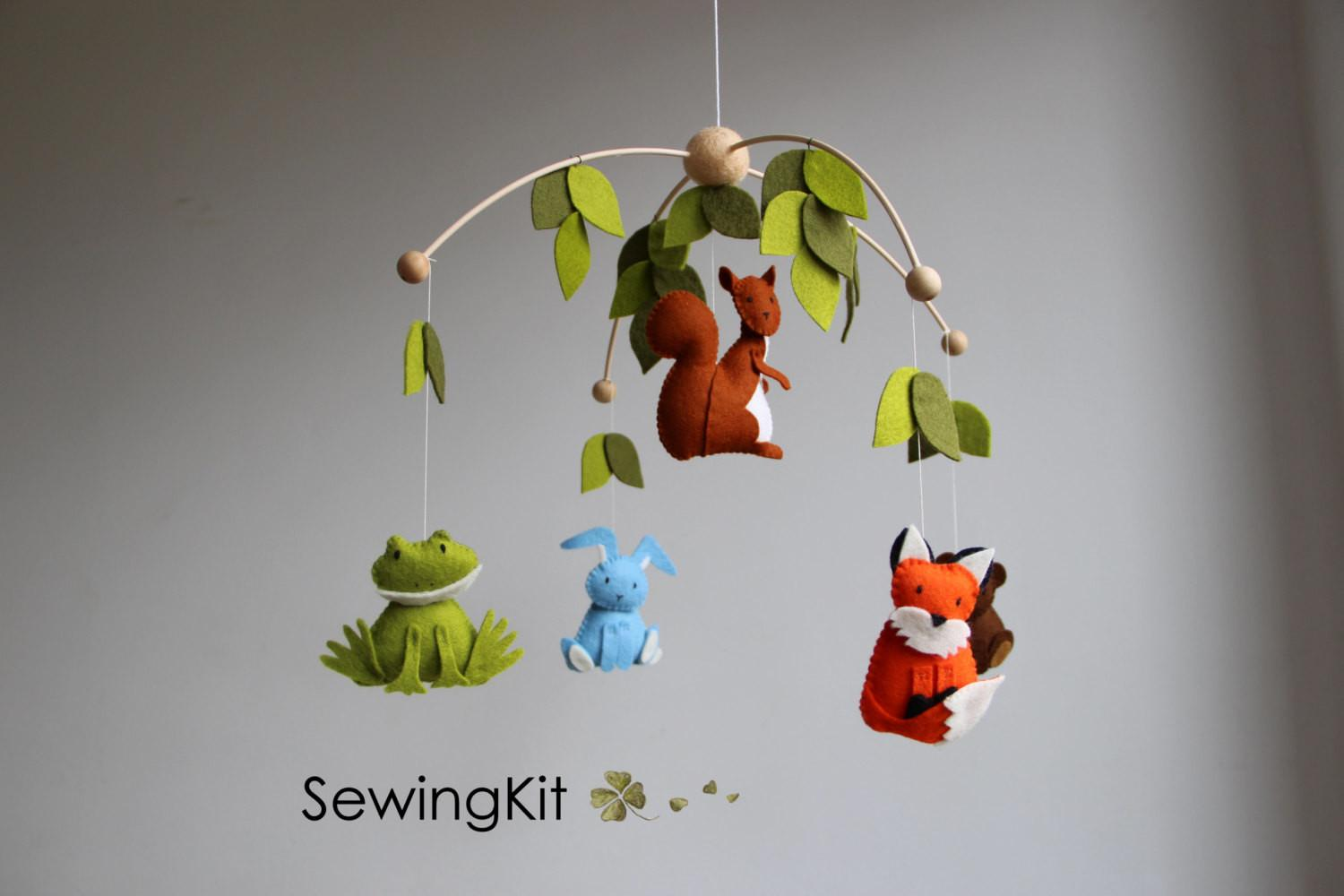 Baby Mobile Woodland Forest Animal Wool Felt