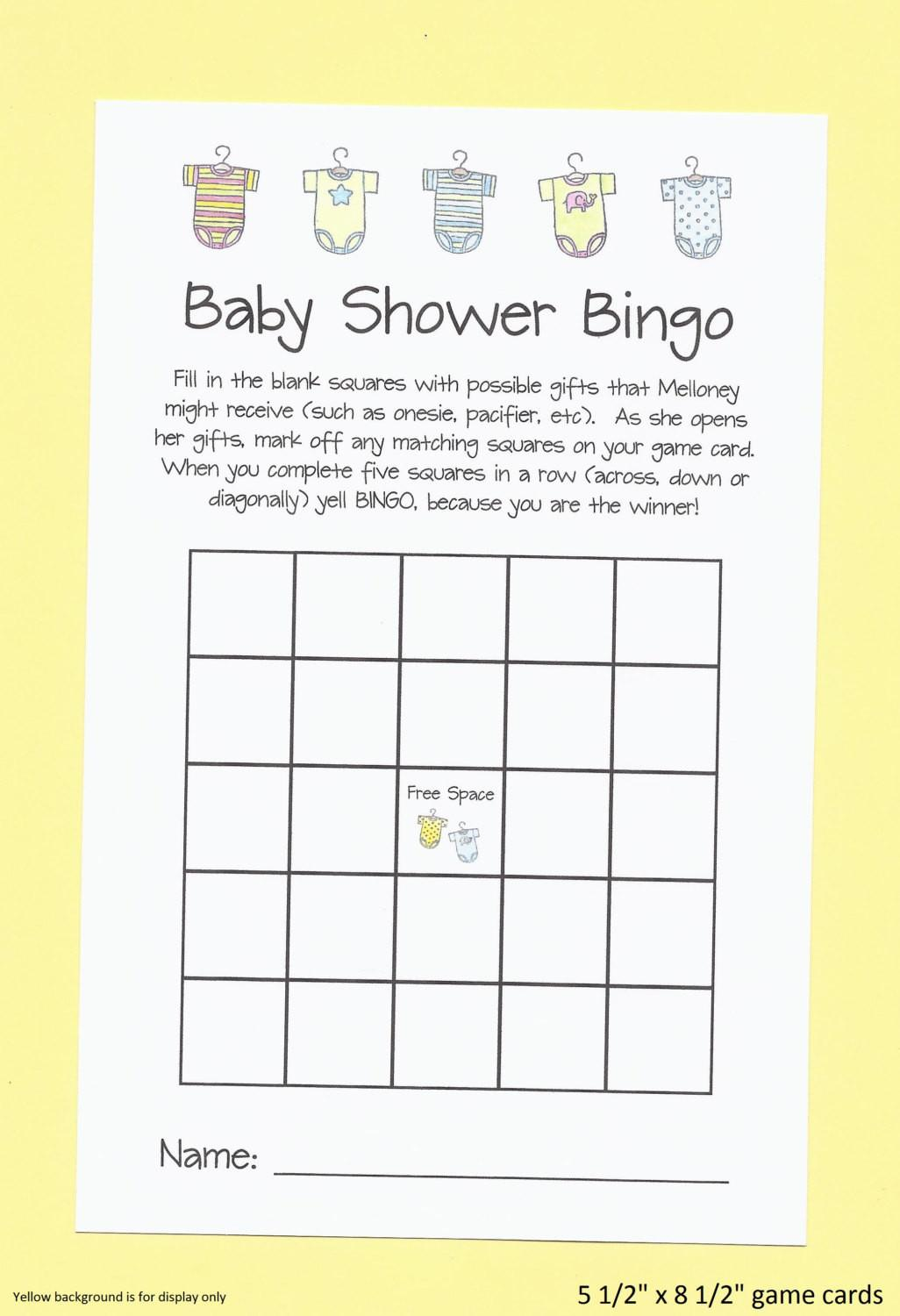 Baby Shower Bingo Game Easy Games Custom