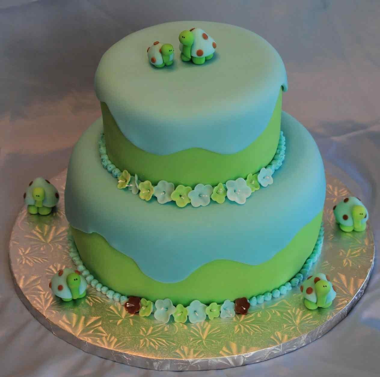 Baby Shower Cakes Boys Green Blue