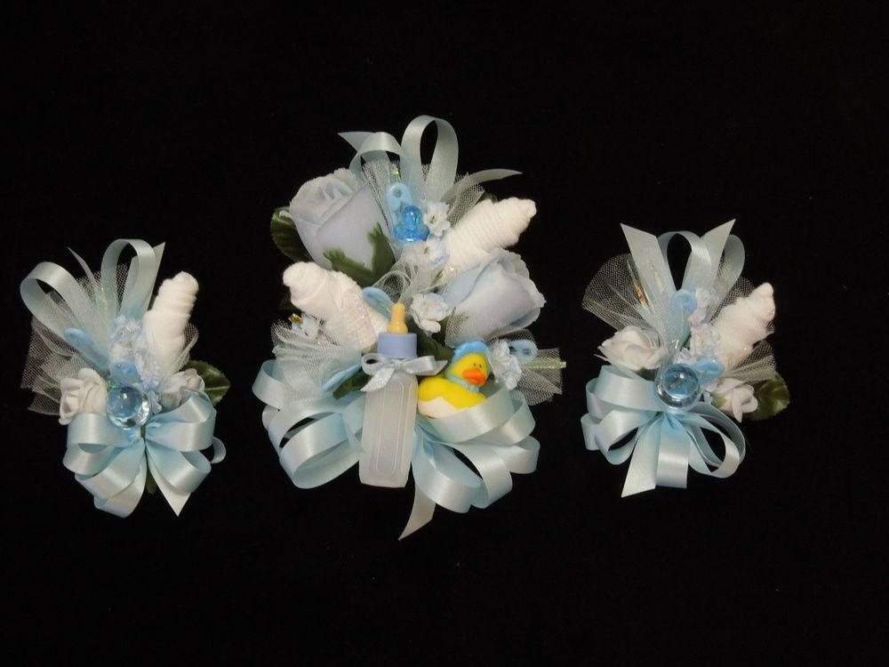 Baby Shower Corsage Rubber Ducky Blue Ribbons Handmade