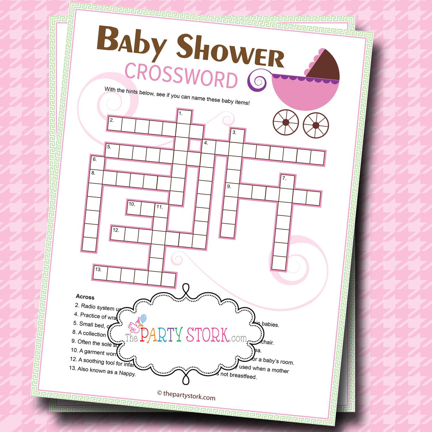 Baby Shower Games Crossword Puzzle Game Printable