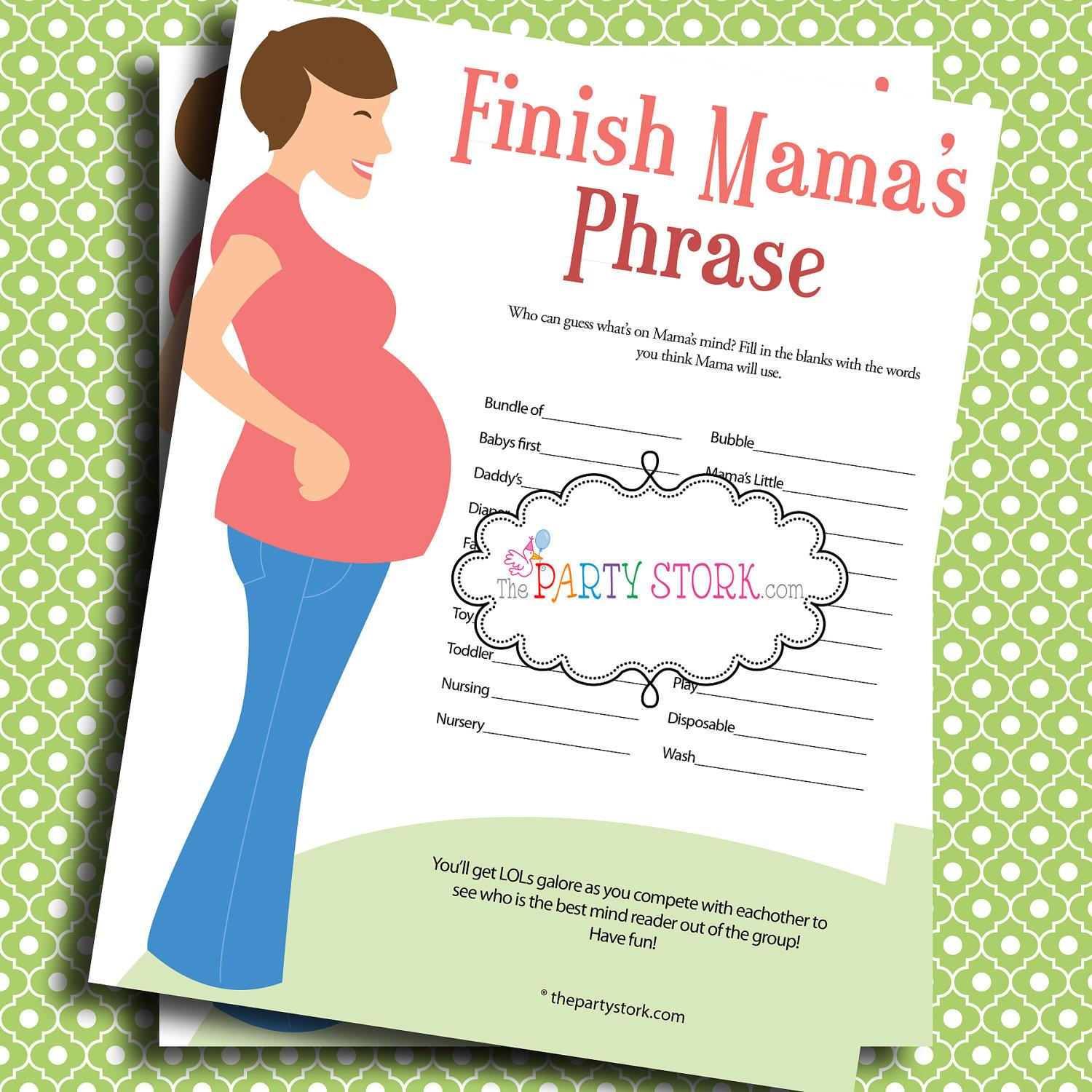 Baby Shower Games Finish Mama Mommy Phrase