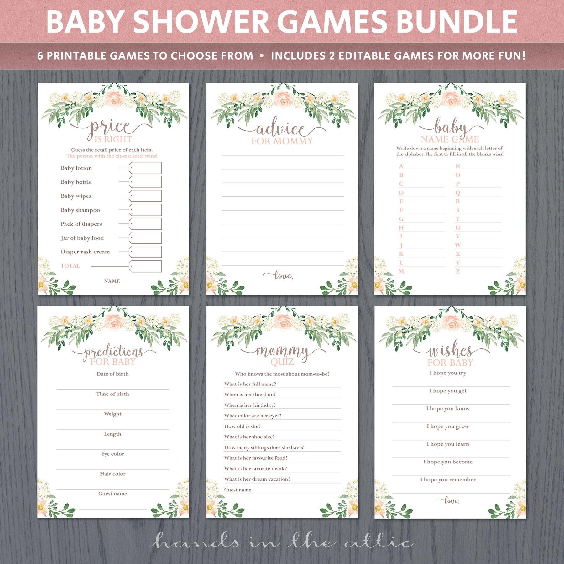 Baby Shower Games Printable Sheets Party Easy Unique