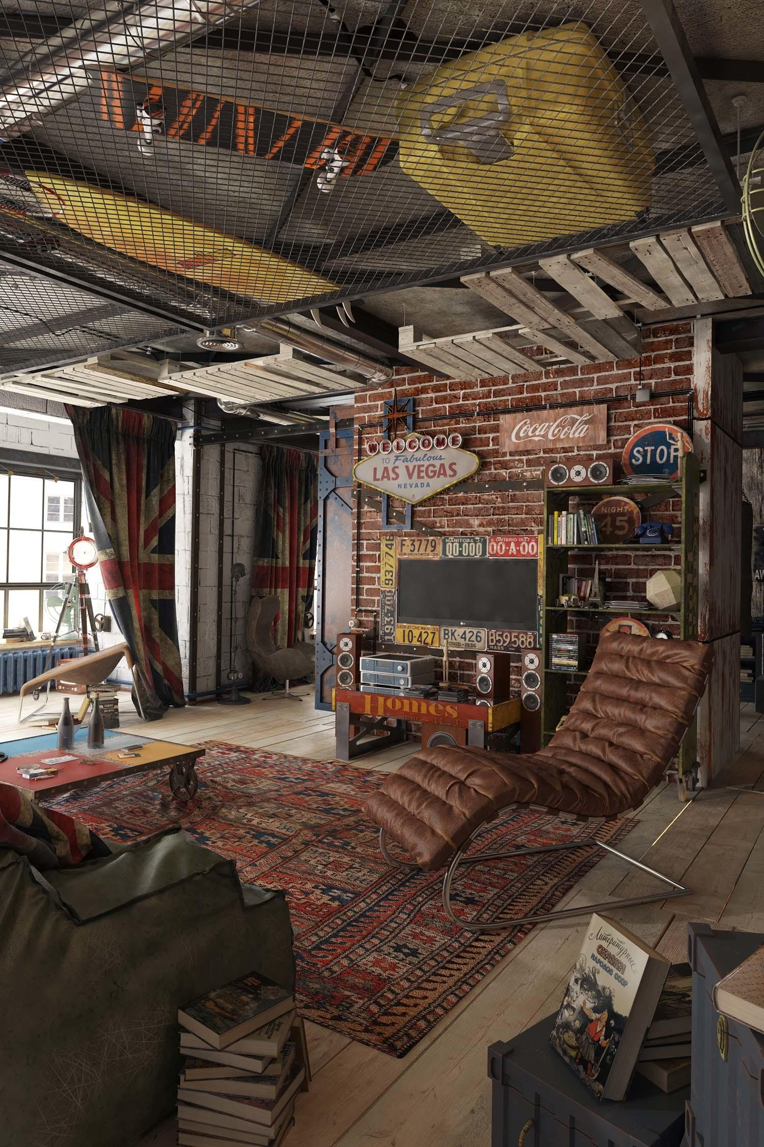 Bachelor Loft Moscow Features Modern Vintage Charm