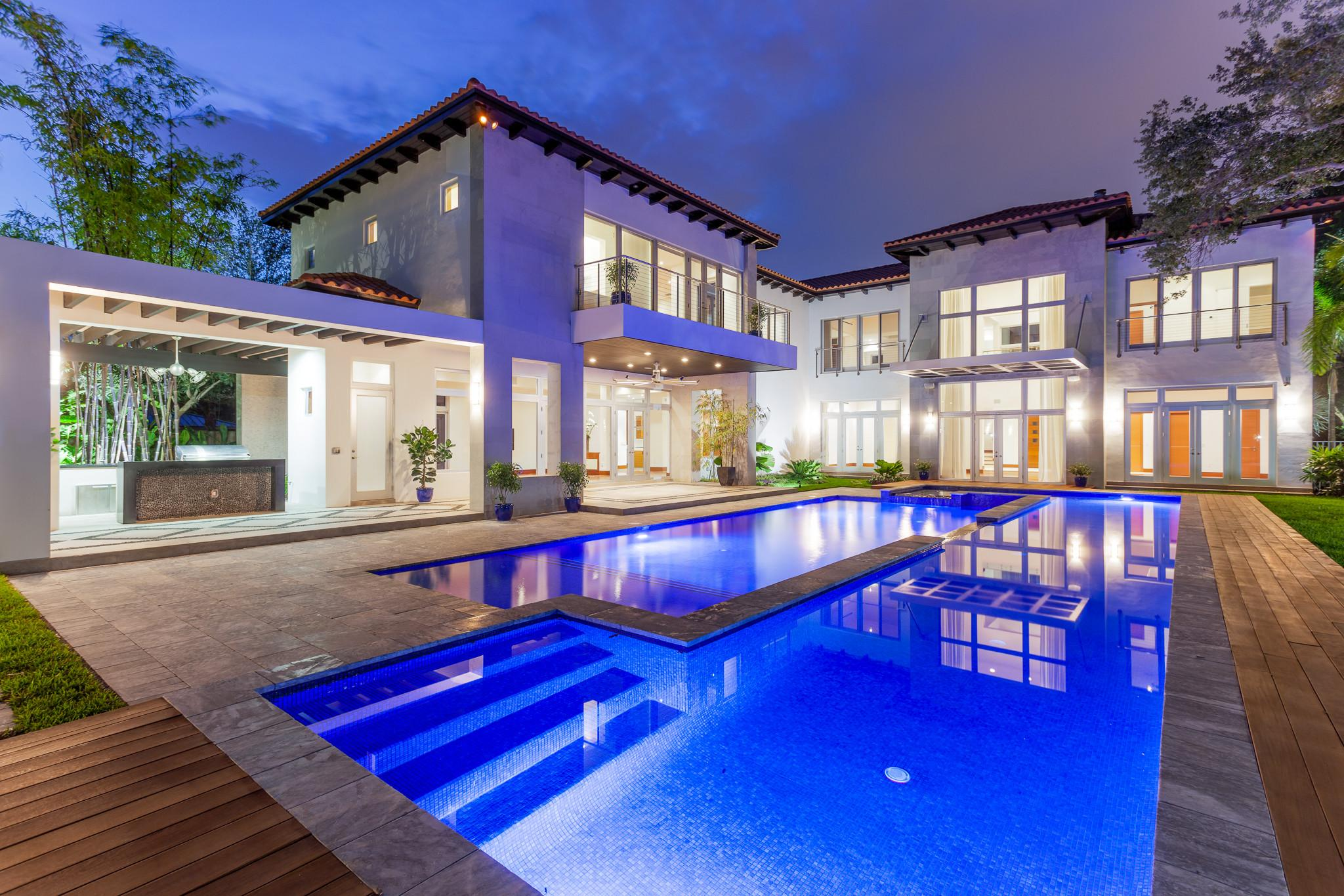 Back Exterior Evening Pool Miami Real Estate Works
