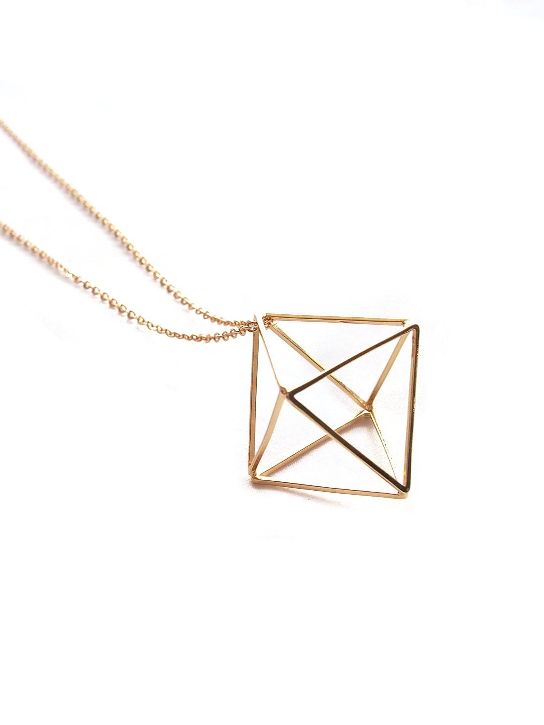 Backorder Geometric Diamond Necklace Gold Arva