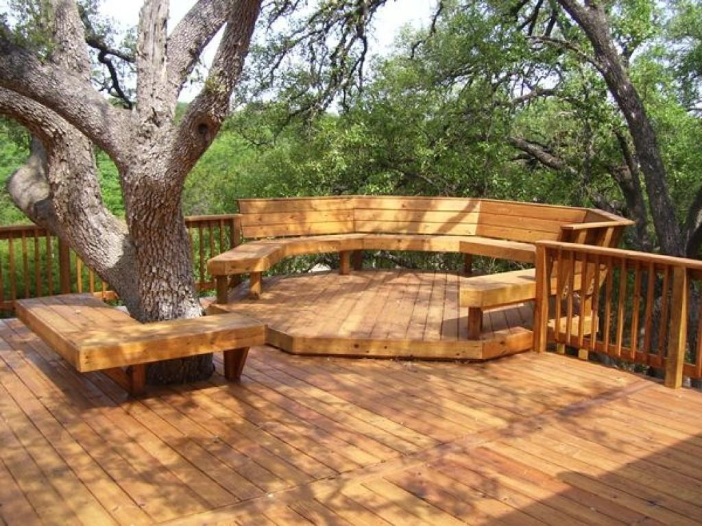 Backyard Deck Designs Curved Built Seating