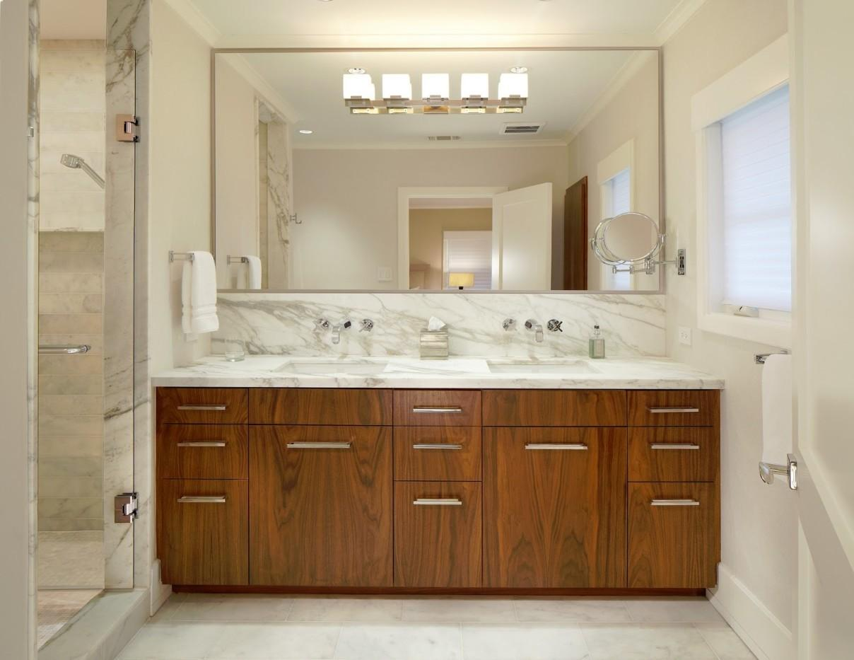 Bahtroom Large Bathroom Mirror Frames Above Wooden Vanity Decoratorist 140102