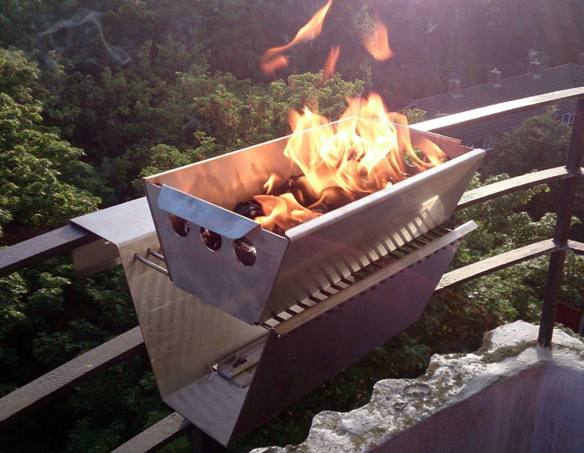 Balcony Wall Mount Railing Bbq Grill Stainless Steel