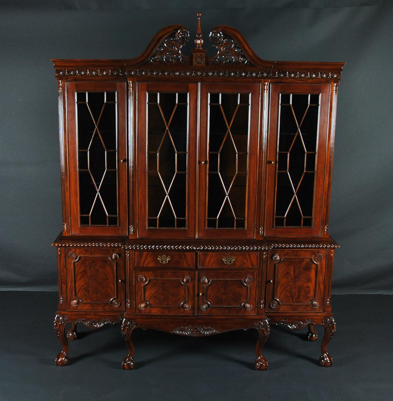 Ball Claw Mahogany Dining Room China Cabinet Gadroon