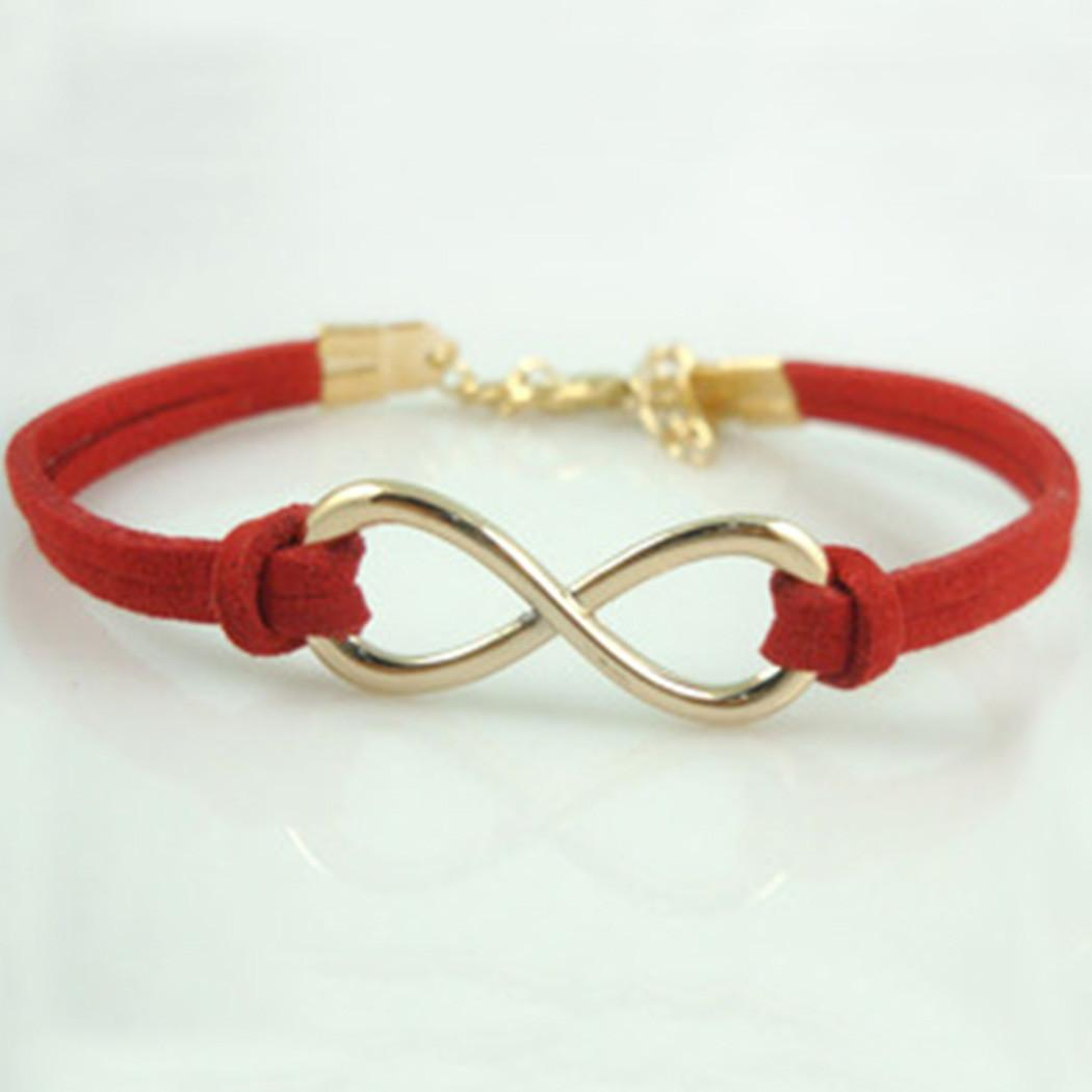 Bangle Bracelet Fashion Women Diy Infinity Beads Leather