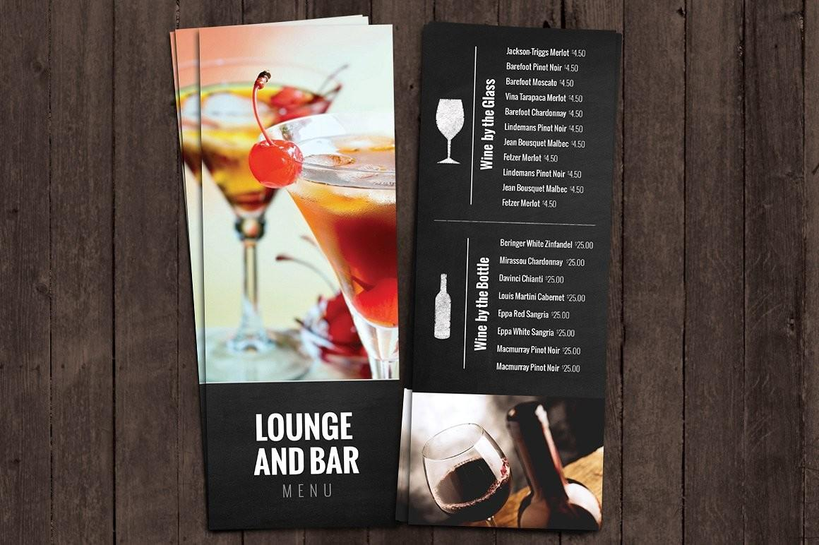 Bar Lounge Drink Menu Brochure Templates Creative