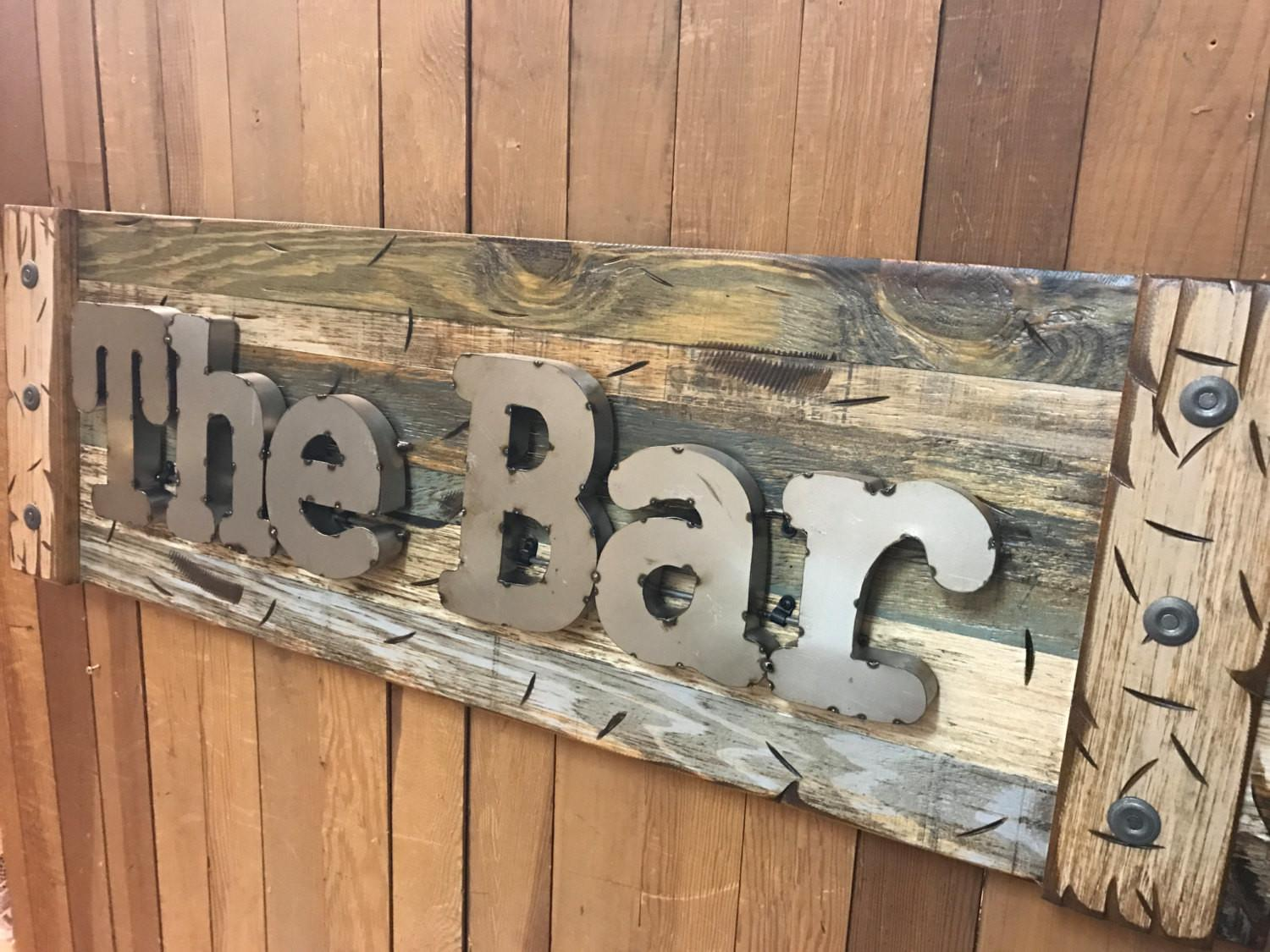 Bar Rustic Sign Reclaimed Shutter Distressed