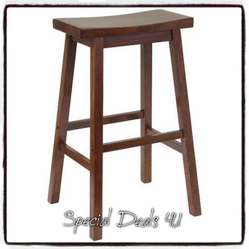 Bar Stool Wood Saddle Seat Stools Chair Home Contemporary