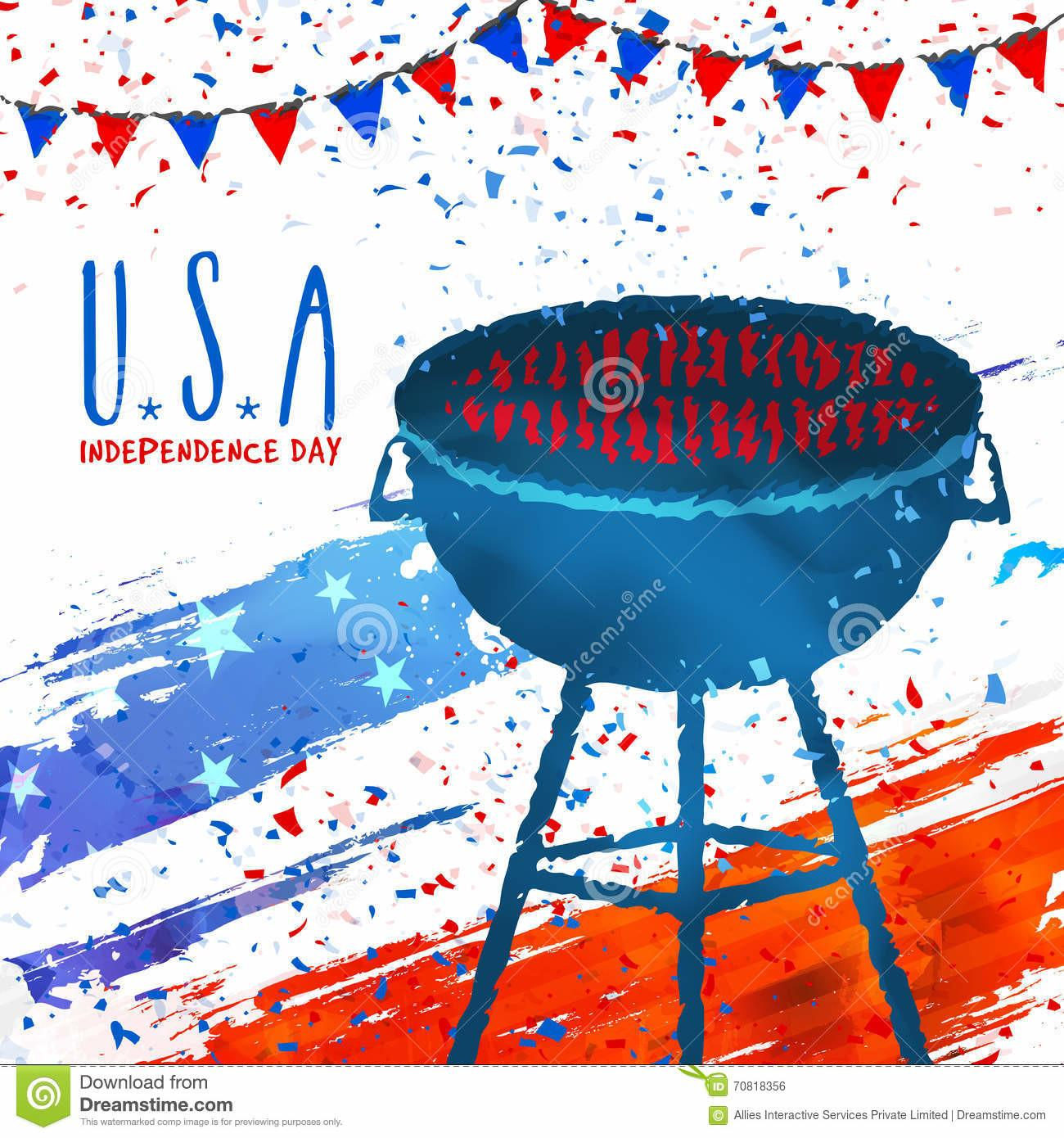 Barbecue Party Invitation Card 4th July Stock