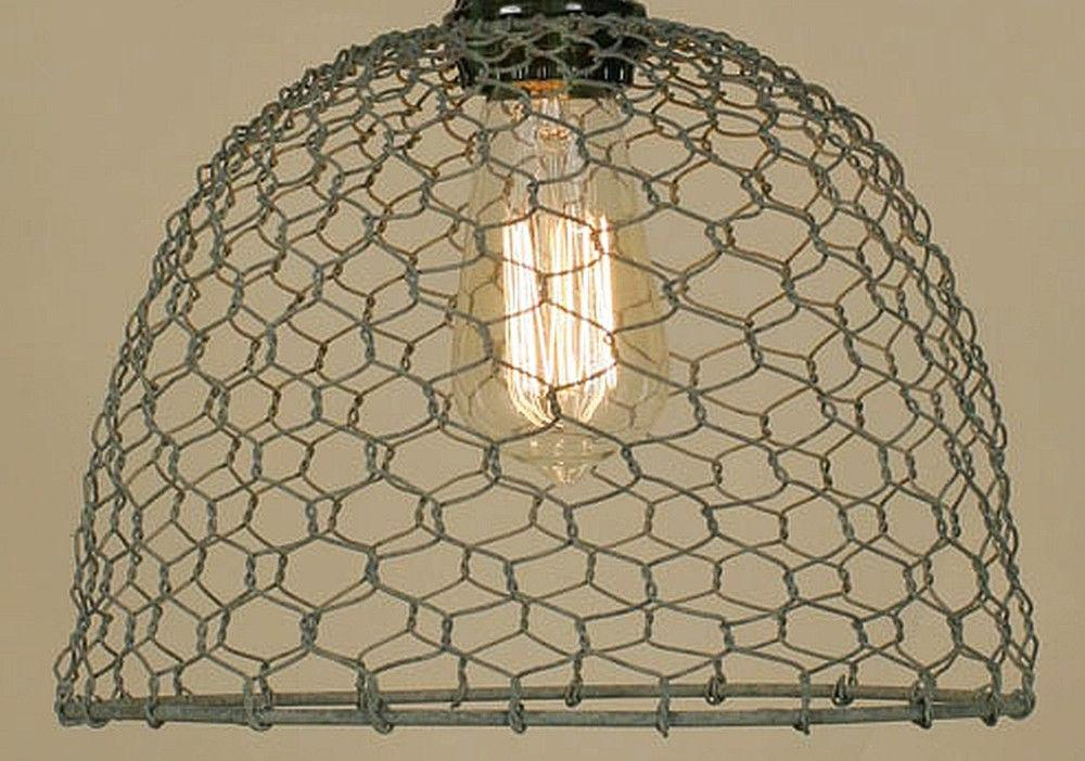 Barn Roof Gray Vintage Rustic Industrial Chicken Wire Dome