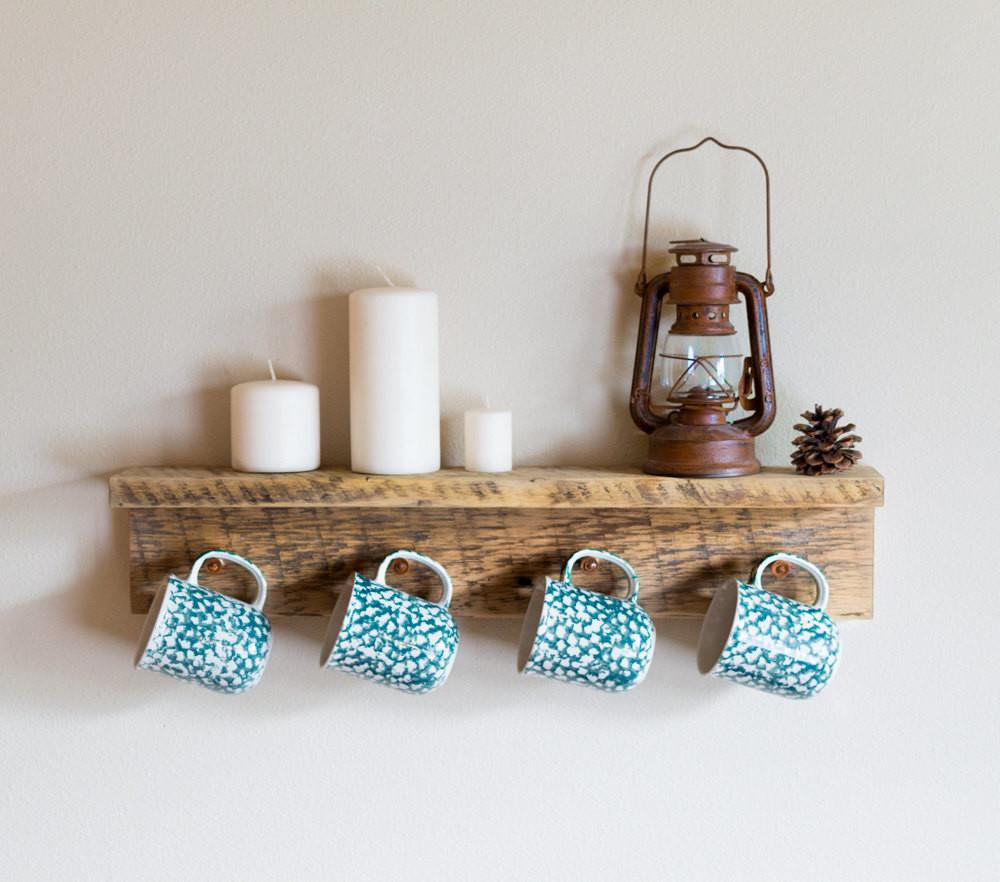 Barn Wood Coffee Mug Holder Reclaimed Cup Hooks