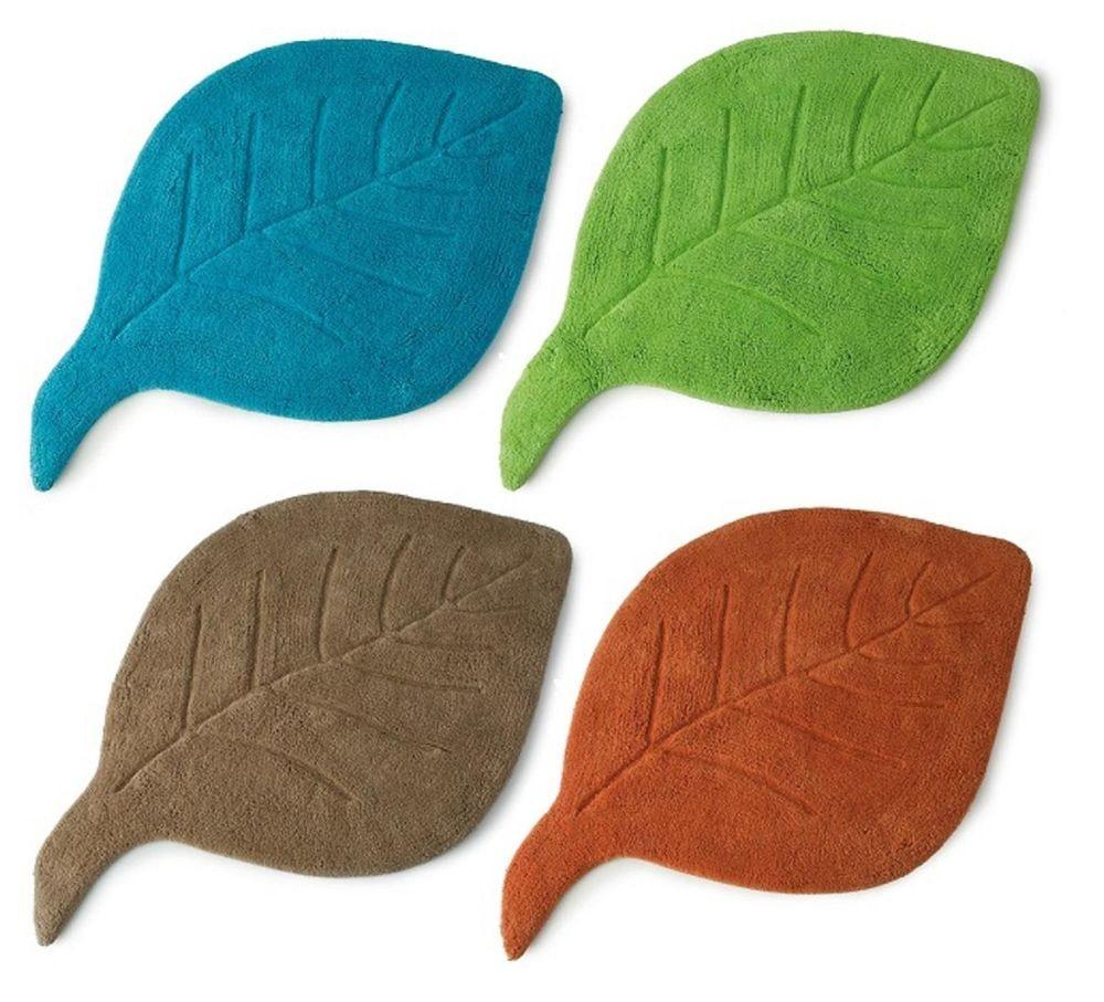 Bath Mat Leaf Design Washable 100 Cotton Bathroom Blue