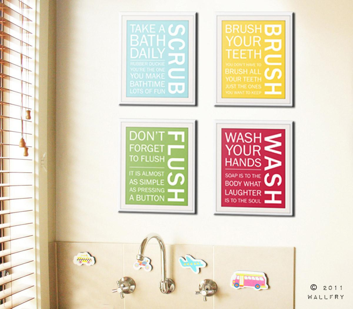 Bathroom Art Prints Rules Kids Wall