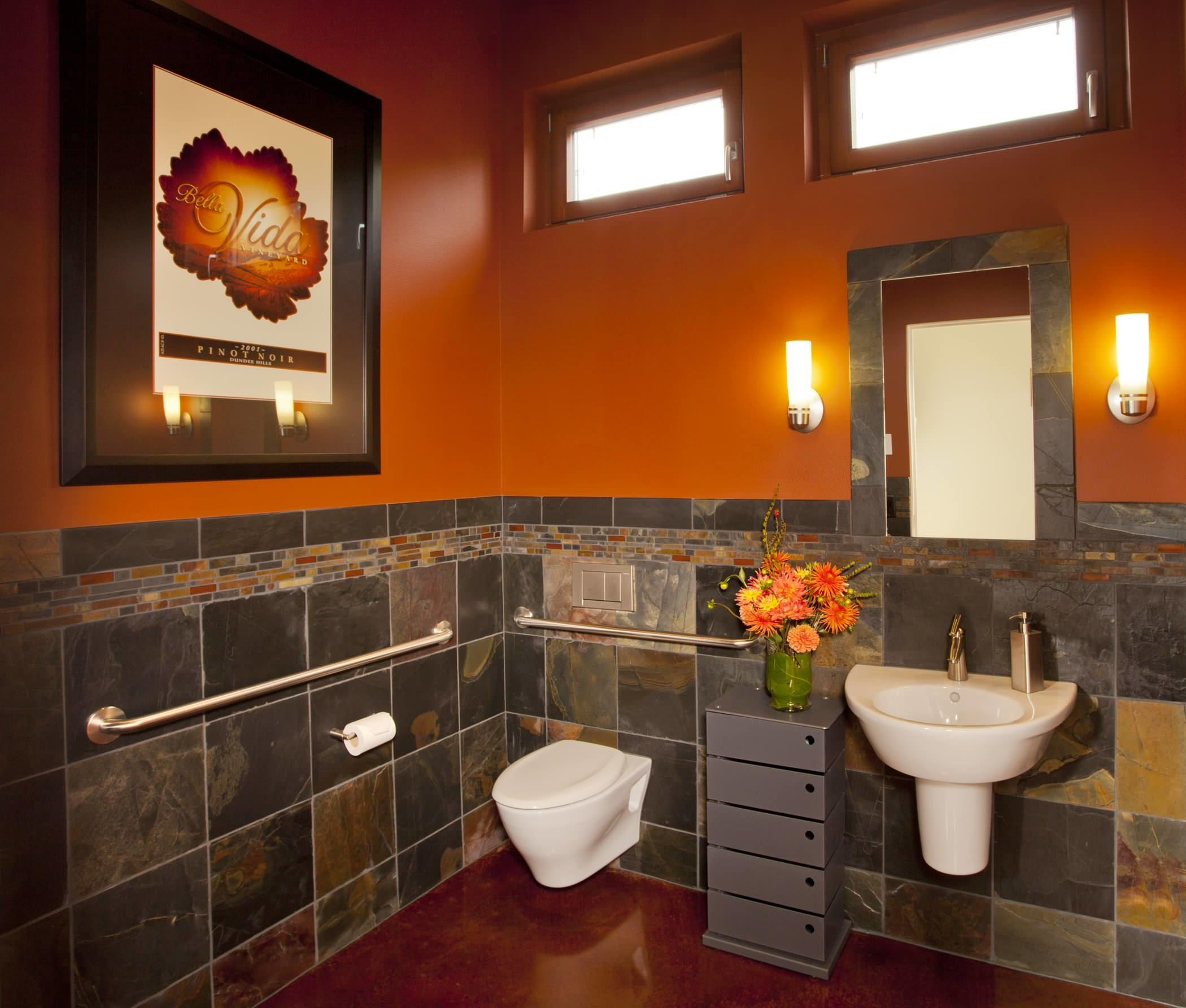 Bathroom Contemporary Deep Orange Paint