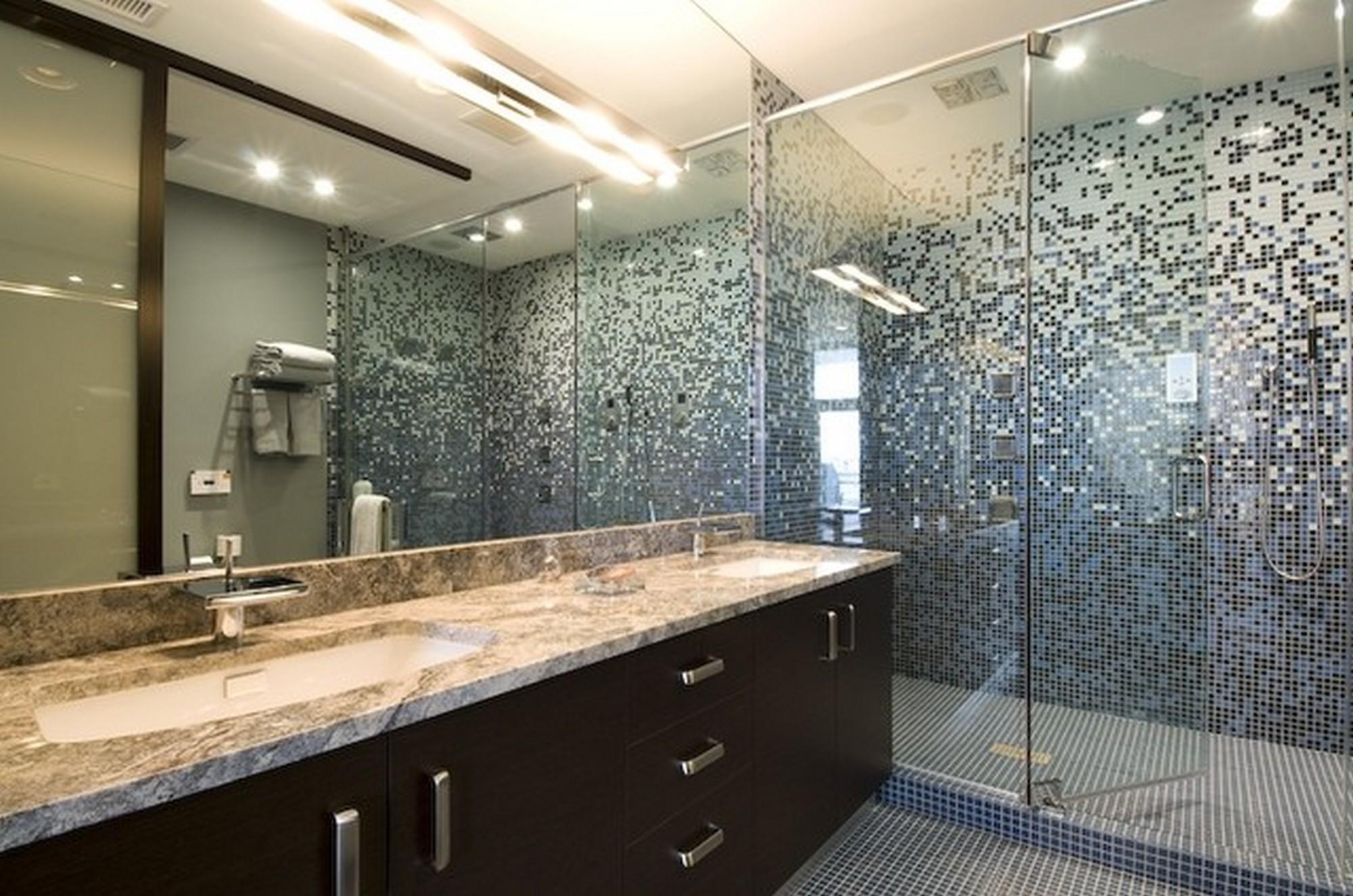 Bathroom Contemporary Glass Tile Design Ideas Trendy